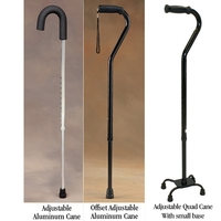 Adjustable Aluminum Cane Standard up to 250 lbs. (113kg) Each Item No.:NC87110 Category:Physical Therapy, SUB CATEGORY:Mobility, SUBCATEGORY:Canes & Crutches, TYPE:Adjustable Canes